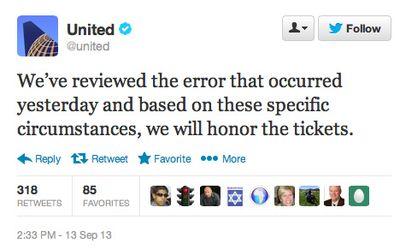 United Airlines tweet