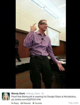 DMScott wearing Google Glass
